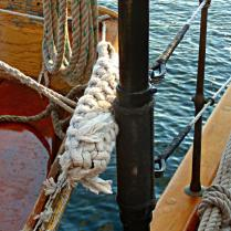 Traditional Rope Fender on the Schooner Adventuress.