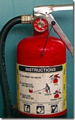 A partially discharged fire extinguisher