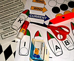 Materials for making magnetic class aids for teaching Marine Rules of The Road.
