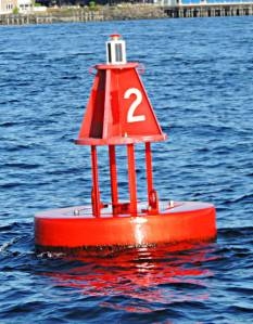 New Shilshole Entrance Buoy with Red LED light.  This buoy is smaller than the one it replaced so it will be harder to see from a distance.