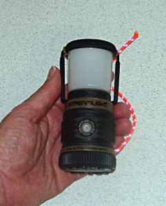 Streamlight Siege Lantern, Three AAA battery size.