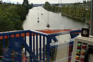 View from the Bridge Tender Tower on the Fremont Bridge as the Duck Dodge herd head toward the first evening opening