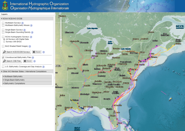 The crowdsourced bathymetry database, displayed in the IHO Data Centre for Digital Bathymetry Data Viewer, has an updated user interface.